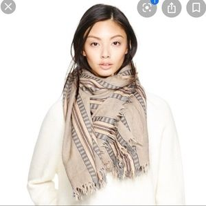 WILFRED mixed stripes blanket scarf- Beige